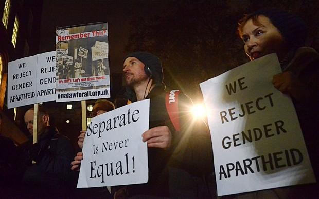 Protests against Universities UK guidelines on gender segregation