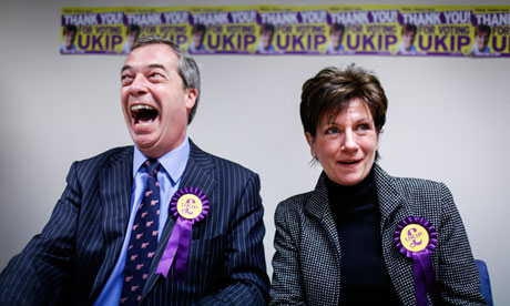 Ukip leader Nigel Farage with Eastleigh Ukip candidate Diane James