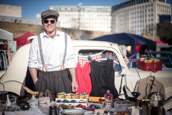 Portrait of a man in vintage fashion at The Classic Car Boot Sale, South Bank, London, England, United Kingdom, Europe